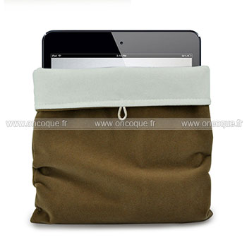 coque apple ipad 3 housse pochette tissu brown. Black Bedroom Furniture Sets. Home Design Ideas