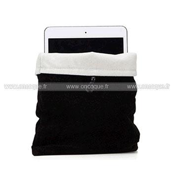 coque apple ipad 3 housse pochette tissu noire. Black Bedroom Furniture Sets. Home Design Ideas