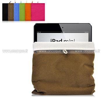coque apple ipad mini 3 housse pochette tissu brown. Black Bedroom Furniture Sets. Home Design Ideas