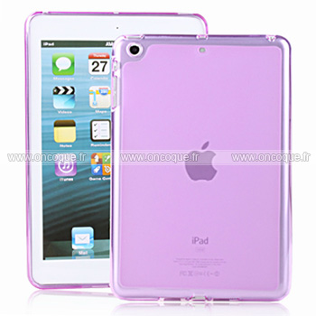 coque apple ipad mini silicone transparent housse pourpre. Black Bedroom Furniture Sets. Home Design Ideas