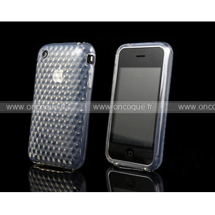 Coque apple iphone 3g 3gs diamant silicone gel housse claire for Housse iphone 3gs