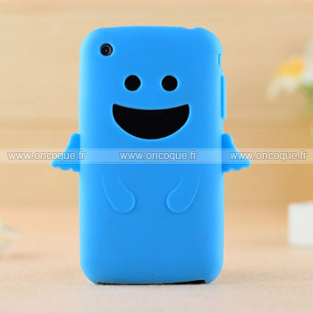Coque apple iphone 3g ange silicone housse gel bleu for Housse iphone 3gs