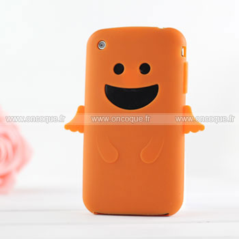 Coque apple iphone 3g ange silicone housse gel orange for Housse iphone 3gs