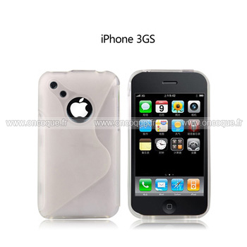 Coque apple iphone 3g s line silicone gel housse blanche for Housse iphone 3gs