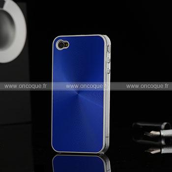 coque apple iphone 4 aluminium metal plated etui rigide bleu. Black Bedroom Furniture Sets. Home Design Ideas