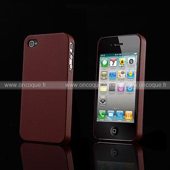 Coque Apple iPhone 4S Cuir Plastique Etui Rigide - Brown