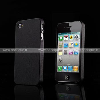 Coque Apple iPhone 4S Cuir Plastique Etui Rigide - Noire