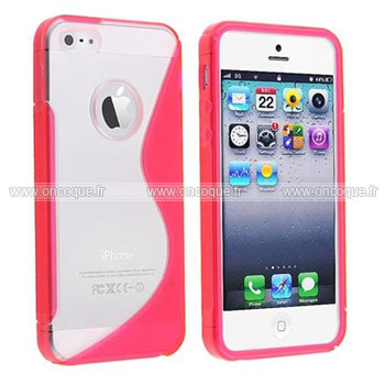 Coque apple iphone 5 s line silicone gel housse rose chaud for Coque iphone 5 miroir