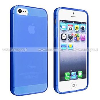 coque apple iphone 5s silicone transparent housse bleu. Black Bedroom Furniture Sets. Home Design Ideas