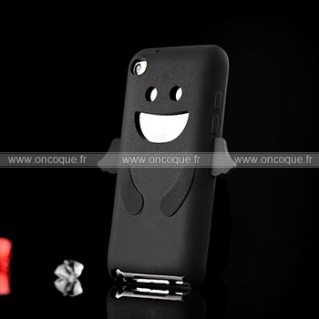 Coque apple ipod touch 4 ange silicone housse gel noire for Housse ipod classic