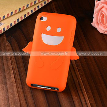 Coque apple ipod touch 4 ange silicone housse gel orange for Housse ipod classic