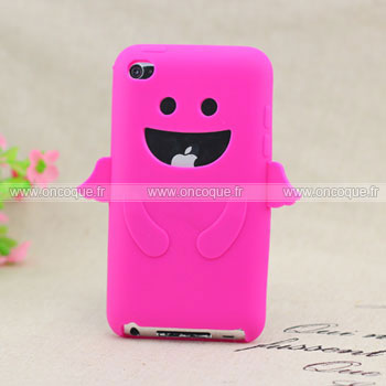 Coque apple ipod touch 4 ange silicone housse gel rose chaud for Housse ipod classic