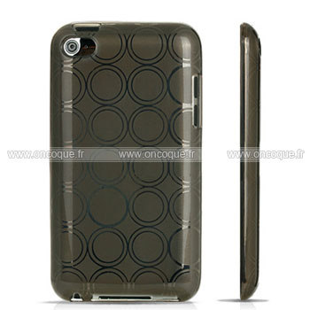 Coque apple ipod touch 4 cercle gel tpu housse gris for Housse ipod classic