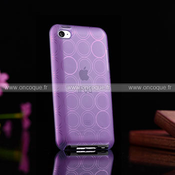 Coque apple ipod touch 4 cercle gel tpu housse pourpre for Housse ipod classic