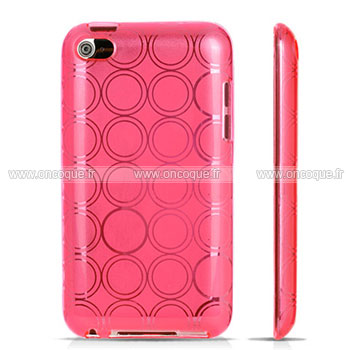 Coque apple ipod touch 4 cercle gel tpu housse rose for Housse ipod classic