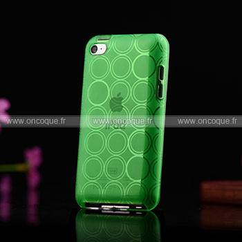 Coque apple ipod touch 4 cercle gel tpu housse verte for Housse ipod classic