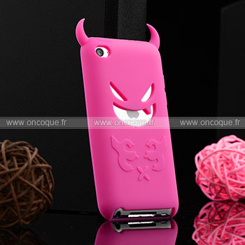 Coque apple ipod touch 4 demon silicone housse gel rose for Housse ipod classic