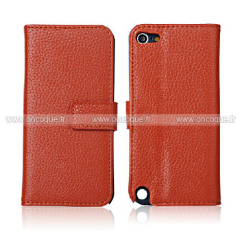 Coque apple ipod touch 5 etui en cuir housse cover brown for Housse ipod classic