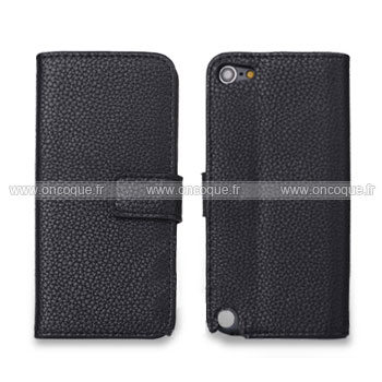 Coque apple ipod touch 5 etui en cuir housse cover noire for Housse ipod classic