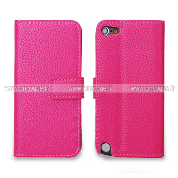 Coque apple ipod touch 5 etui en cuir housse cover rose for Housse ipod classic
