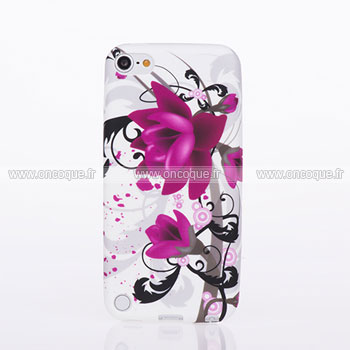 Coque apple ipod touch 5 fleurs silicone housse gel pourpre for Housse ipod classic