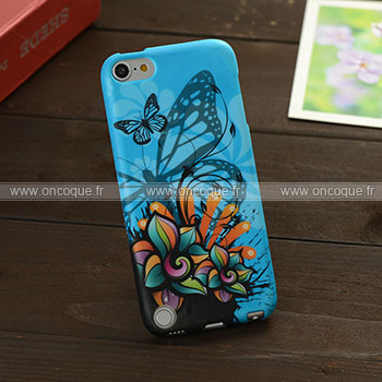 Coque apple ipod touch 5 papillon silicone housse gel bleu for Housse ipod classic