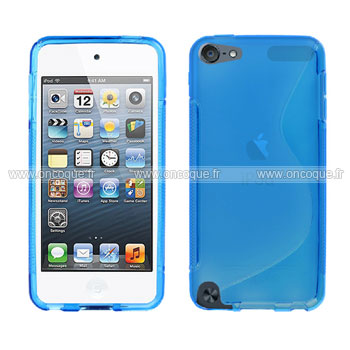 Coque apple ipod touch 5 s line silicone gel housse bleu for Housse ipod classic