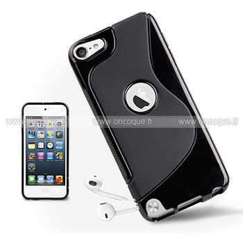 Coque apple ipod touch 5 s line silicone gel housse noire for Housse ipod classic