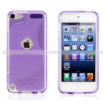 coque apple ipod touch 5 s line silicone gel housse pourpre