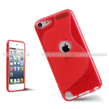 Coque apple ipod touch 5 s line silicone gel housse rouge for Housse ipod classic