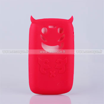 Coque blackberry bold 9700 demon silicone housse gel rouge for Housse blackberry
