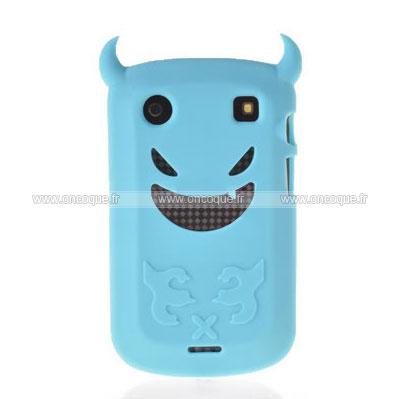 Coque blackberry bold 9900 demon silicone housse gel bleu for Housse blackberry