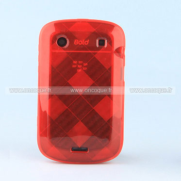 Coque blackberry bold 9900 grid gel tpu housse rouge for Housse blackberry
