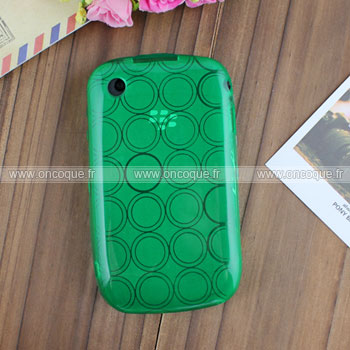 Coque Blackberry Curve 8520 Cercle Gel TPU Housse - Verte