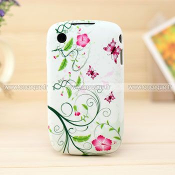 Coque blackberry curve 8520 fleurs housse silicone gel verte for Housse blackberry curve