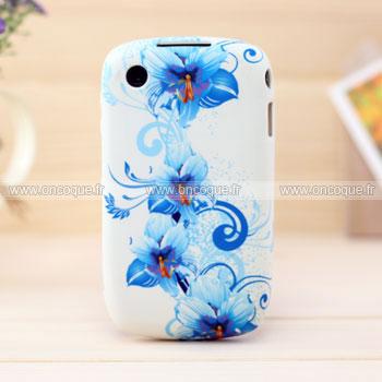 Coque blackberry curve 8520 fleurs silicone housse gel bleu for Housse blackberry curve