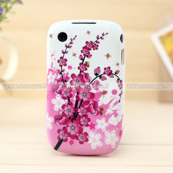 Coque blackberry curve 8520 fleurs silicone housse gel rose for Housse blackberry curve 9300