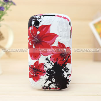 Coque blackberry curve 8520 fleurs silicone housse gel rouge for Housse blackberry curve 9300