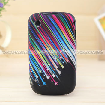 Coque blackberry curve 8520 stars silicone gel housse noire for Housse blackberry curve