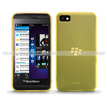 coque blackberry z10 silicone transparent housse jaune. Black Bedroom Furniture Sets. Home Design Ideas
