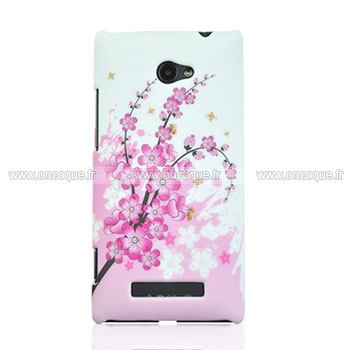 Coque HTC 8X Windows Phone Fleurs Plastique Etui Rigide - Rose