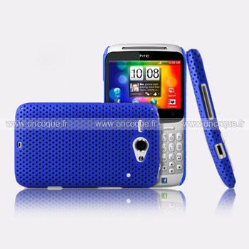 Coque HTC Chacha G16 A810e Filet Plastique Etui Rigide - Bleu