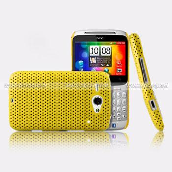 Coque HTC Chacha G16 A810e Filet Plastique Etui Rigide - Jaune