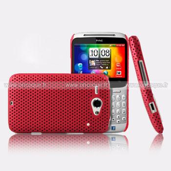 Coque HTC Chacha G16 A810e Filet Plastique Etui Rigide - Rouge