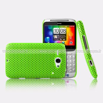 Coque HTC Chacha G16 A810e Filet Plastique Etui Rigide - Verte