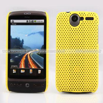 Coque HTC Desire Bravo G7 A8181 Filet Plastique Etui Rigide - Jaune