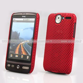 Coque HTC Desire Bravo G7 A8181 Filet Plastique Etui Rigide - Rouge