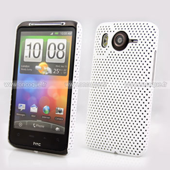 Coque HTC Desire HD G10 A9191 Filet Plastique Etui Rigide - Blanche
