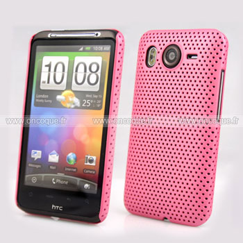 Coque HTC Desire HD G10 A9191 Filet Plastique Etui Rigide - Rose