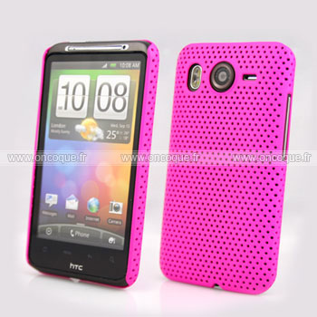 Coque HTC Desire HD G10 A9191 Filet Plastique Etui Rigide - Rose Chaud